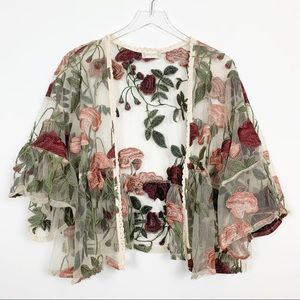 alter'd state | Open Front Floral Embroidered Top